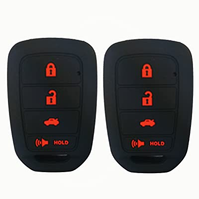 2Pcs Coolbestda Silicone Key Fob Skin Remote Cover Case Keyless Entry Holder Protector for Honda Accord Civic Crosstour CR-V HR-V MLBHLIK6-1TA (Only Fit Straight key fob, Smart Key Fob Not Fit): Automotive [5Bkhe2009258]