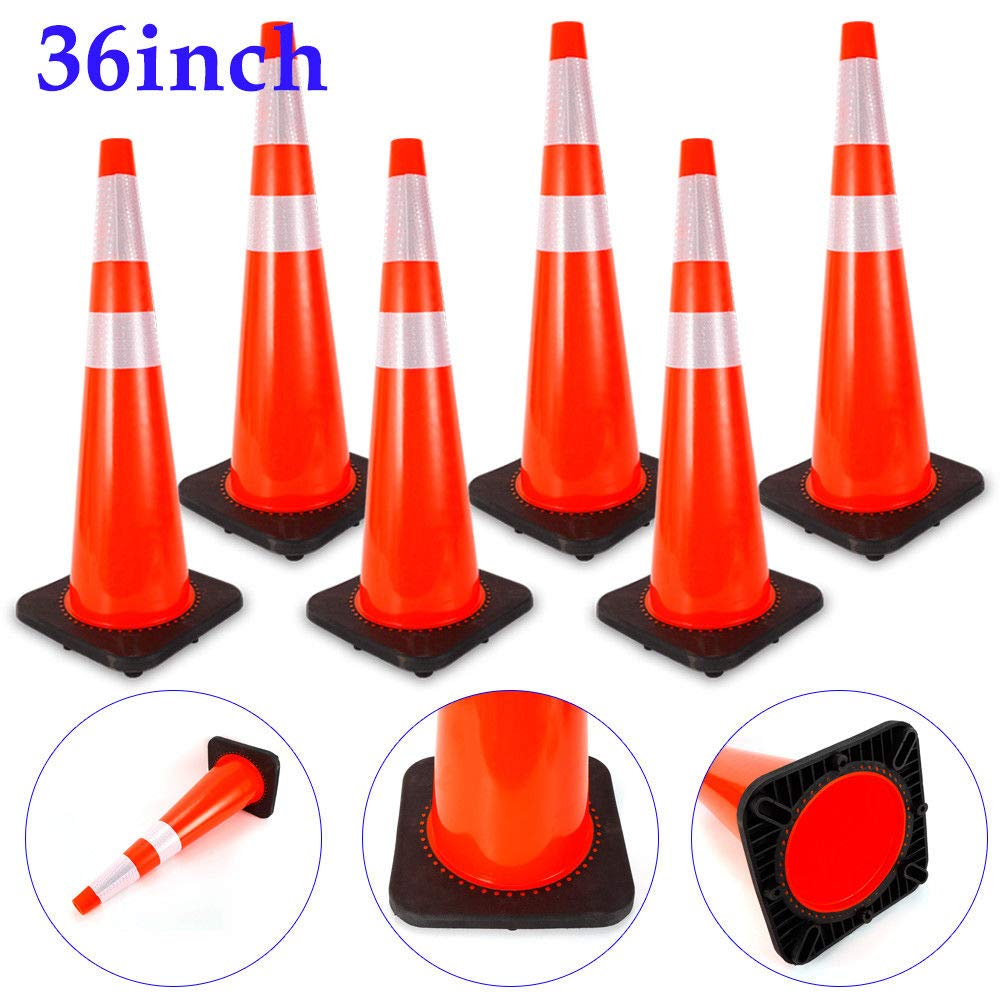 6pcs//36 6 pcs Traffic Cones PVC Safety Road Parking Cones Weighted Hazard Cones Construction Cones for Traffic Fluorescent Orange Road Warning Safety Sign