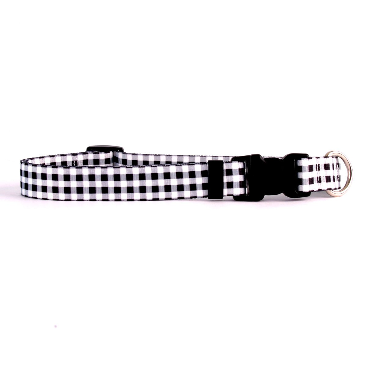 Yellow Dog Design Gingham Black Dog Collar Fits Neck 14 To 20'', Medium 1'' Wide
