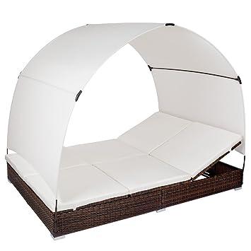 Gartenliege 2 personen dach  Amazon.de: TecTake Alu Sonnenliege Poly Rattan Gartenliege ...