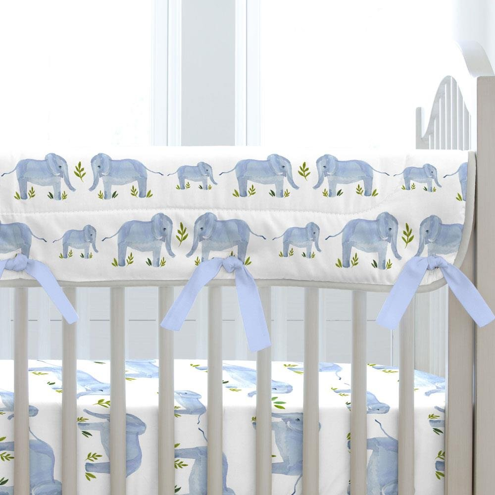 Carousel Designs Blue Painted Elephants Crib Rail Cover by Carousel Designs