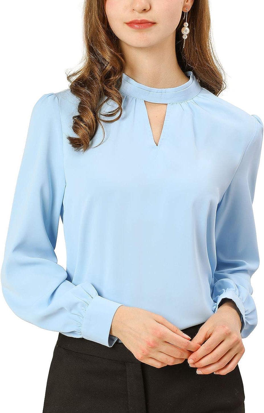 Allegra K Blusa Plisada de Manga Larga con Cuello Alto y Ojales para Mujer