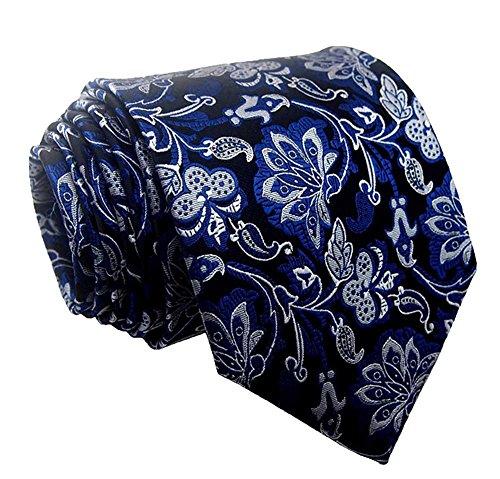 L04BABY Men's Classic Blue Silver Black Jacquard Woven Silk Formal Tie - Blue Black Silver