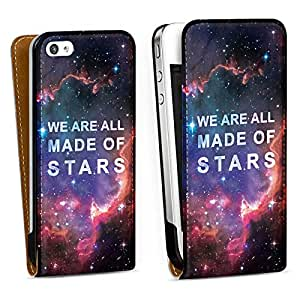Diseño para Apple iPhone 4 / 4S DesignTasche Downflip white - We are all made of stars