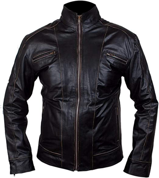 Feather Skin Real Black Leather Jacket Men Jacke Herren niet
