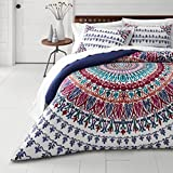3 Piece Medallion Motif Duvet Cover King Set, Beautiful Bohemian Boho Chic Hippy Bedding, Hippie Floral, Feather Henna Mandala Pattern Tribal Southwest Indian Native Multi Blue Green Pink Purple White