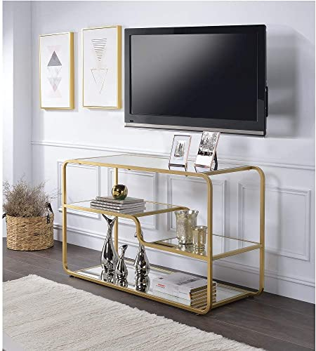 SSLine 50 TV Stand Console Table, Rectangular Glass Tabletop Multi-Tier Organizer Shelves Golden Metal Frame, Modern TV Entertainment Center, Living Room Furniture