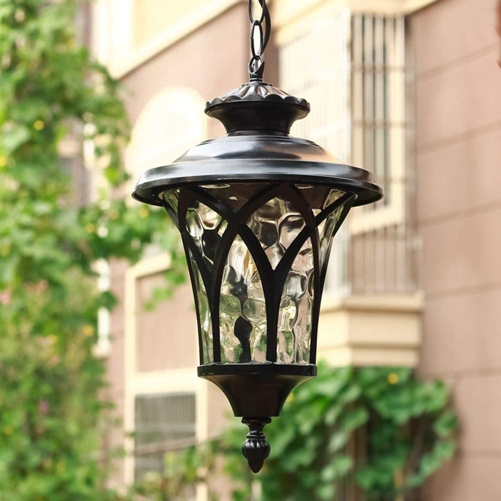 OUUED Outdoor Waterproof Pendant Lights, E27 Balcony Chandelier Farmhouse Ceiling Hanging Porch Fixture in Black Metal with Clear Bubbled Glass Iron Cage Frame, Exterior Lantern for Garden, Entryway,