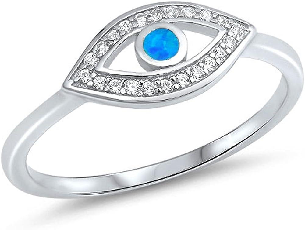 CHOOSE YOUR COLOR Sterling Silver Evil Eye Ring