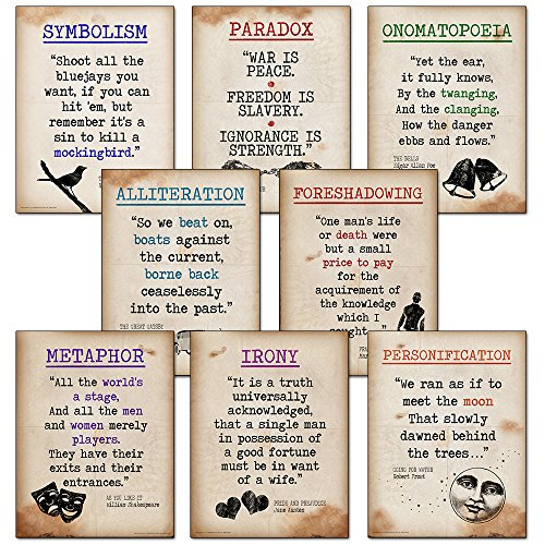 Literary Terms Mini Quote Poster Set featuring Alliteration, Foreshadowing, Irony, Metaphor, Onomatopoeia, Paradox, Personification and Symbolism. Educational Art Prints by ECHO-LIT