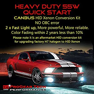 Heavy Duty 55W CANBUS HID Xenon Conversion Kit H7 100% No Bulb Out Error Headlight Fog-light (10000K Brilliant)