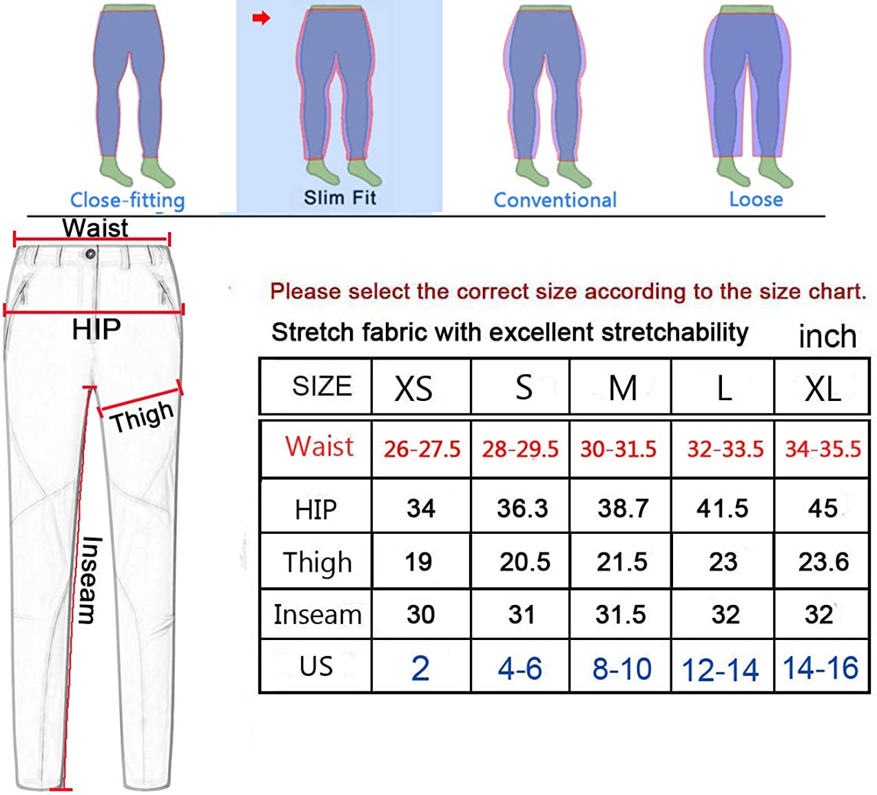 Gash Hao Hiking Pants Women Outdoor Travel Quick Dry Lightweight Stretch Trail Slim Pants