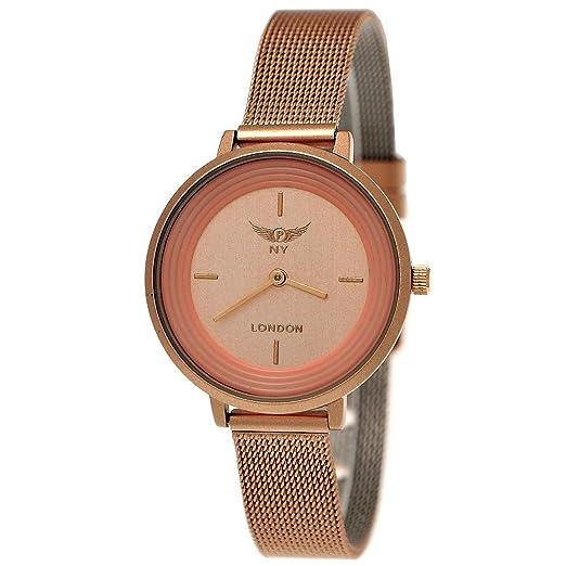 eef2925c927 Elegant Designer NY London Ladies Watch Milanese Bracelet Flat Classic  Analog Quartz Rose Gold Watch  Amazon.co.uk  Watches
