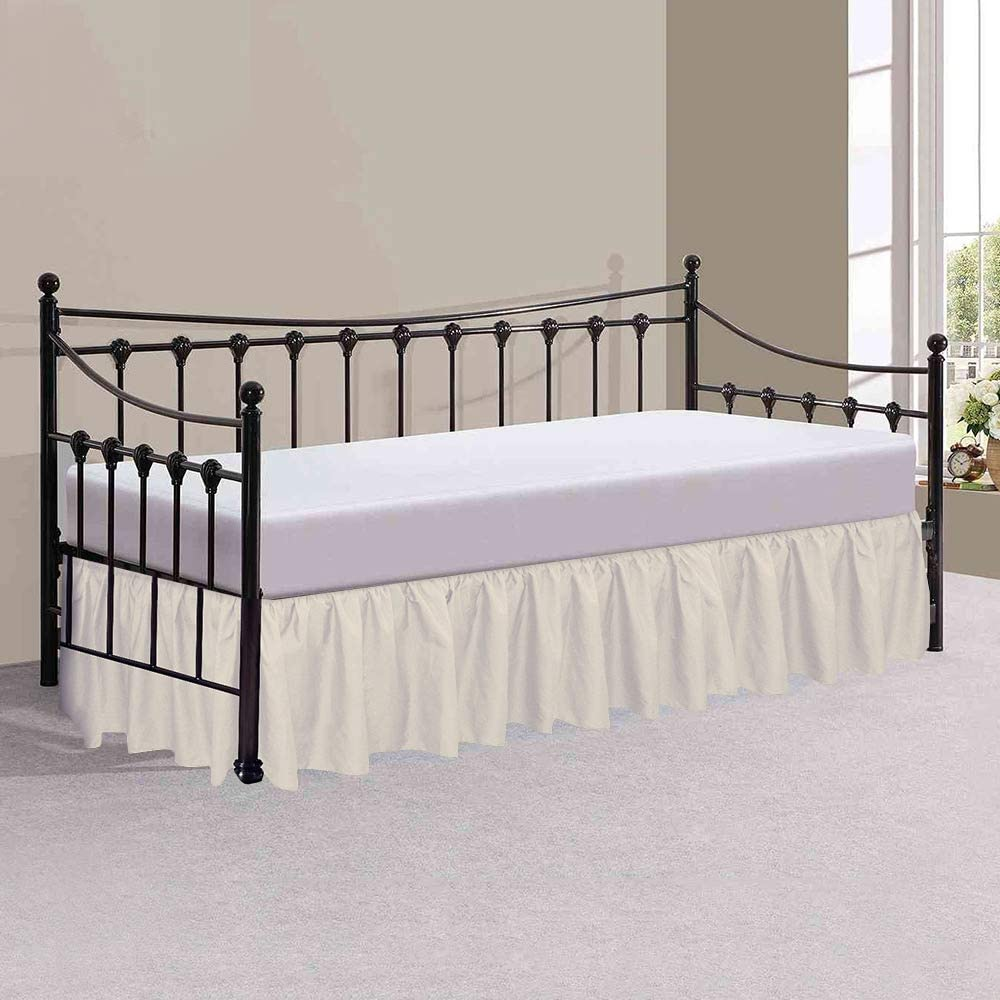 Soft Dust Ruffle Bed Skirt with Split Corners for Day beds Microfiber Ivory
