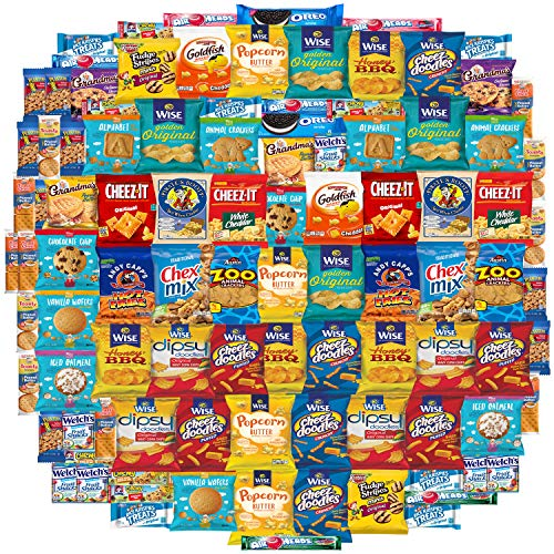 Variety Fun Care Package (100 Count) - Ultimate Snacks Sampler - Bulk Cookies, Chips, Crackers, Candy, Mixed Bars Variety Pack - Friends & Family, Military, College Food Box]()