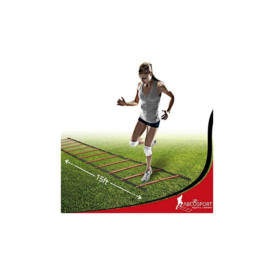 Abco Tech Speed Agility Ladder with 12 Adjustable Flat Rungs, 15ft Long – Perfect Training Equipment for Soccer, Football & Other Sports – with Bonus 10 Sports Disc Cones, Carrying Bag & 4 Metal Pegs