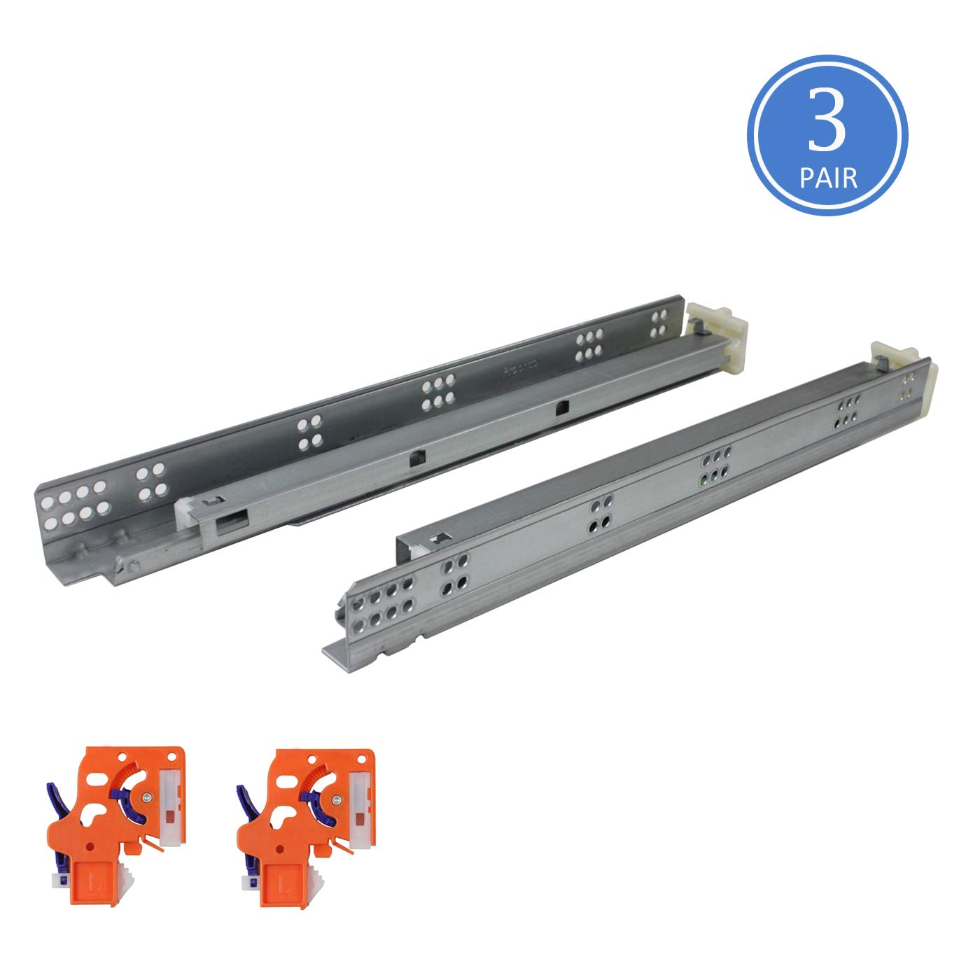 18 Inch 3 Pair Undermount Drawer Slides-Soft Close Heavy Duty Drawer Rails, Full Extension 85LB Capacity Concealed Cabinet Drawer Glides