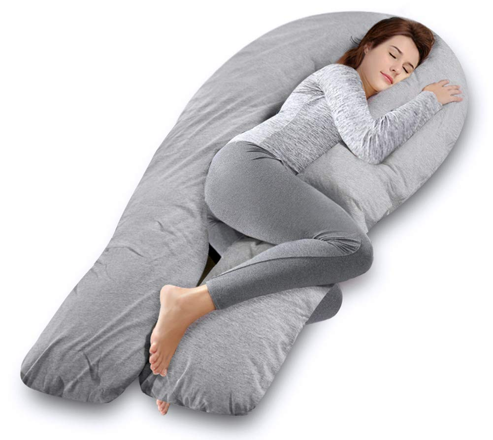 with Washable Gray Jersey Cover Ang Qi U Shaped Pregnancy Pillow Full Body Maternity Pillow for Side Sleeping and Back Pain