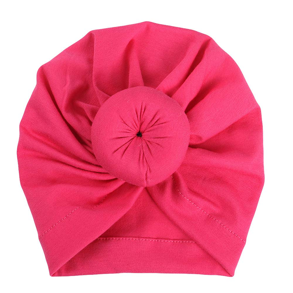 SiQing Cute Donut Newborn Baby Toddler Cotton India Hat Baby Girl Knotted Soft Turban Bow Cap Set (Hot Pink)