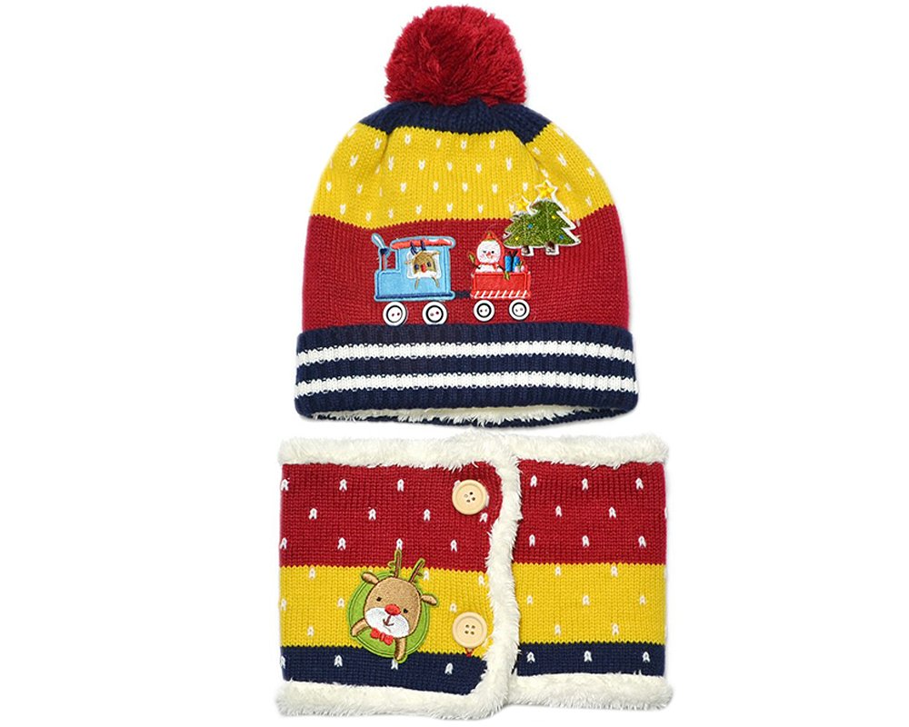 BONAMART TM 2 pcs NEW ARRIVAL Cute Car Christmas Tree Newborn Baby Boy Girl Kids Children Neck Warmer Scarf Knitted Beanie Velvet Winter Hat Cap