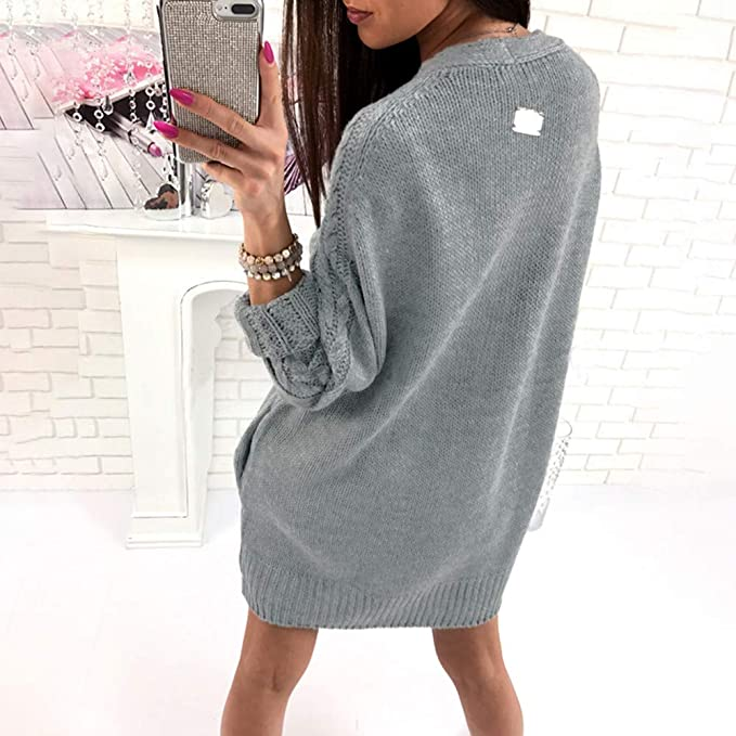 Limsea 2018 Women Autumn Winter Solid Knitted Sweater Long Sleeve Pullover  Blouse Tops(Grey c61bbe10b