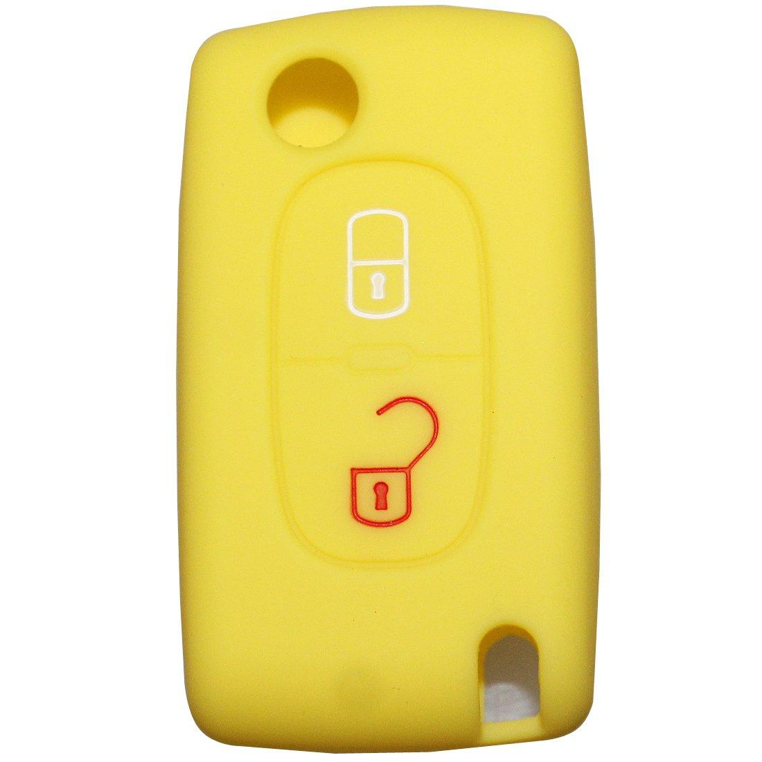 tuqiang/® Cl/é Coque de Key Cl/é plip coque en silicone Seat pour for Peugeot Ion 108/206/207/208/2008/306/307/308/3008/407/4008/508/5008/1pc Jaune Coque Cl/és de Voiture