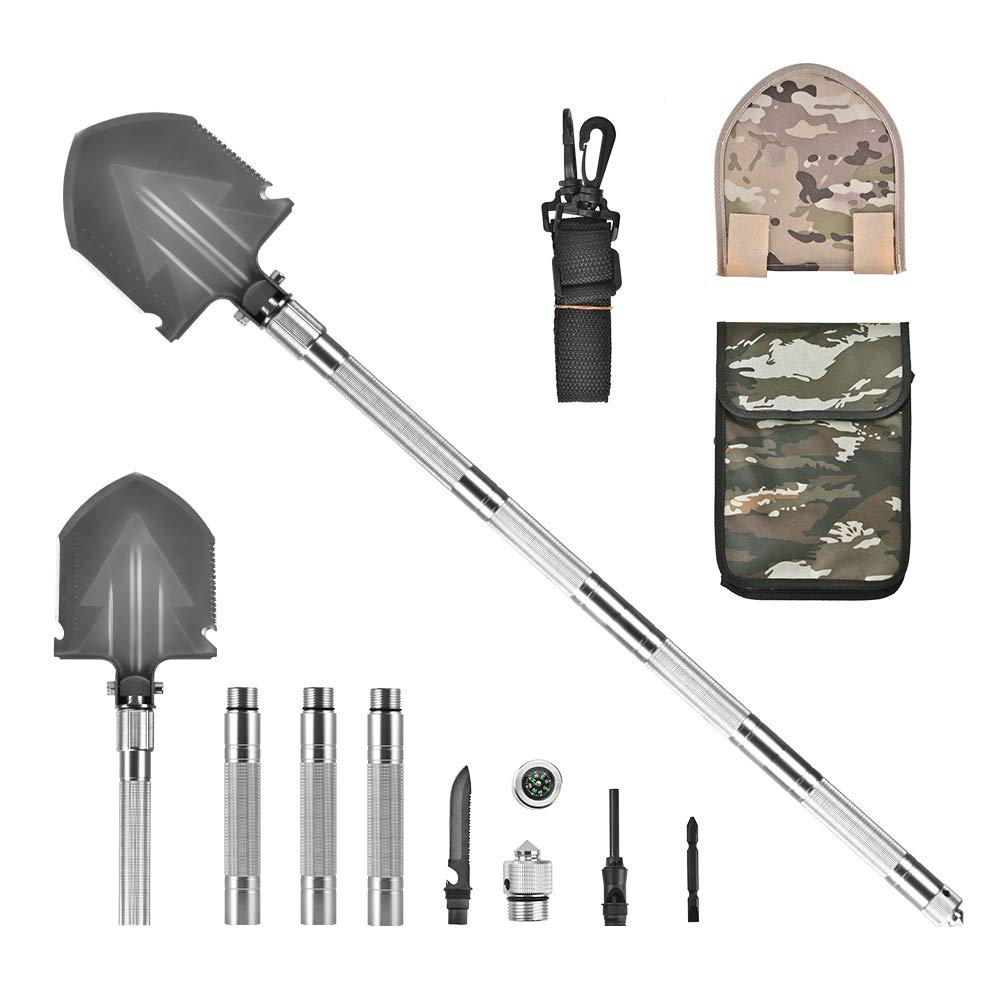 Giraffe-X 37'' Military Tactical Shovel Folding Camp Shovel,Army Surplus Survival Gear, Multi-Purpose Outdoor Emergency Tool Kit for Car and Snow Removal Silver by Giraffe-X (Image #9)