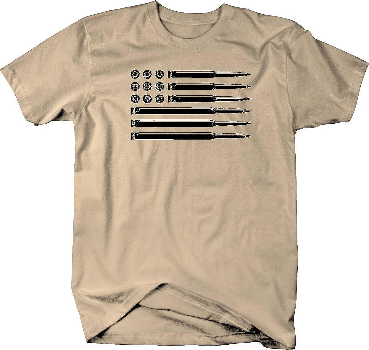 AR15 556 Rifle Bullets American Flag Gun Rights Military Mens T Shirt-Vaci