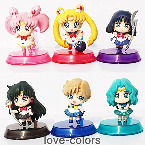 L 6pcs/lot New Sailor Moon Mars Jupiter Venus Mercury PVC Action Figure Model Toy
