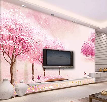 . Wall Mural 3D Wallpaper Pink Peach Princess Room Girl Modern Wall