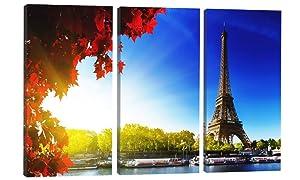 Canvas Wall Art Decor - 12x24 3 Piece Set (Total 24x36 inch) - Paris Eiffel Tower - Decorative & Modern Multi Panel Split Canvas Prints for Dining & Living Room, Kitchen, Bathroom, Bedroom & Office
