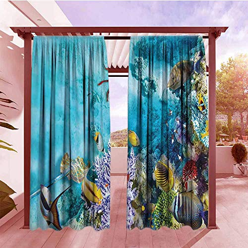 (Curtains Rod Pocket Two Panels Ocean Decor Collection Tropical and Exotic Coral Reefs Fish School Jellyfish and Starfish in a Shallow Underwater Energy Efficient, Darkening W84x84L Red Blue)