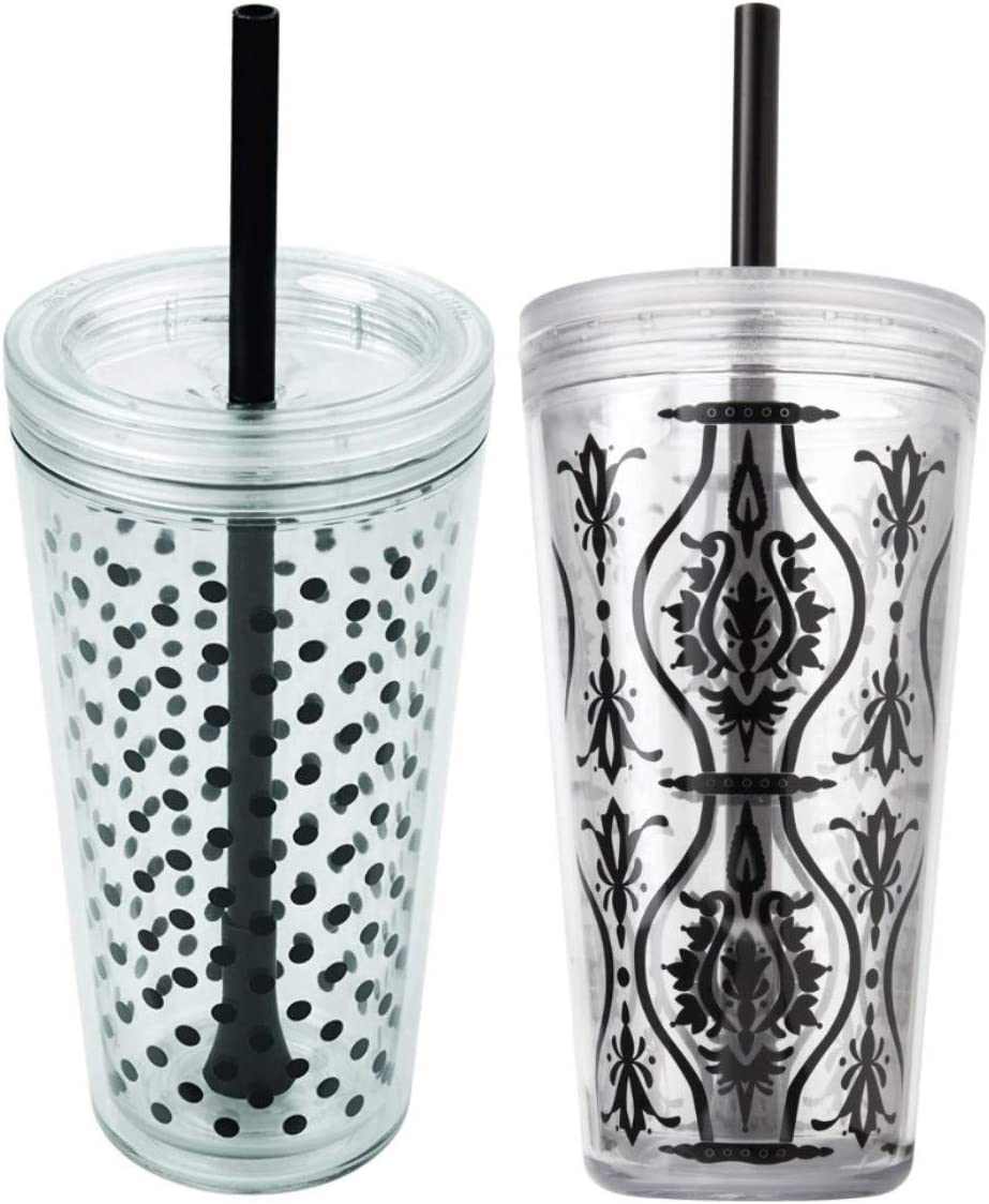Copco Minimus Double Wall Insulated Tumbler with Removable Straw, 24 oz, Set of 2 (Black Dot and Black Damask)