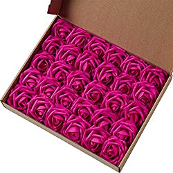 Marry Acting Artificial Flower Rose, 30pcs Real Touch Artificial Roses for DIY Bouquets Wedding Party Baby Shower Home Decor (Fuchsia)