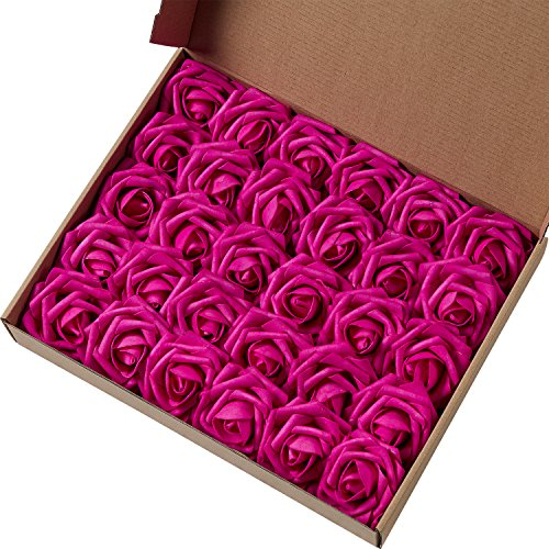 (Marry Acting Artificial Flower Rose, 30pcs Real Touch Artificial Roses for DIY Bouquets Wedding Party Baby Shower Home Decor (Fuchsia))