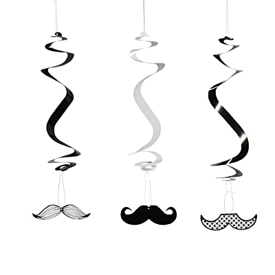 Fun Express - Mustache Hanging Swirls for Party - Party Decor - Hanging Decor - Spirals & Swirls - Party - 12 Pieces: Toys & Games