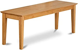 East West Furniture CAB-OAK-W Bench with Wood Seat, Oak Finish