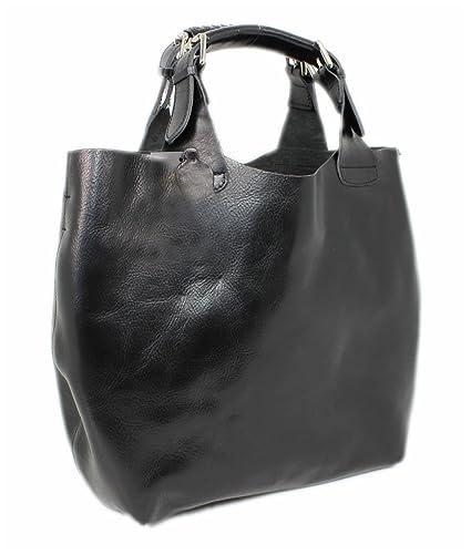 2fb7ee7d04 Luxury Italian Real Leather Bag Purse XL Tote Bag Handbag Shoulder Bag Nero  01868  Amazon.co.uk  Luggage