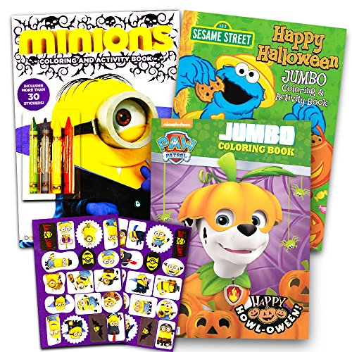 Halloween Coloring Books Super Set for Kids Toddlers -- 3 Halloween Coloring and Activity Books with Crayons and Stickers -