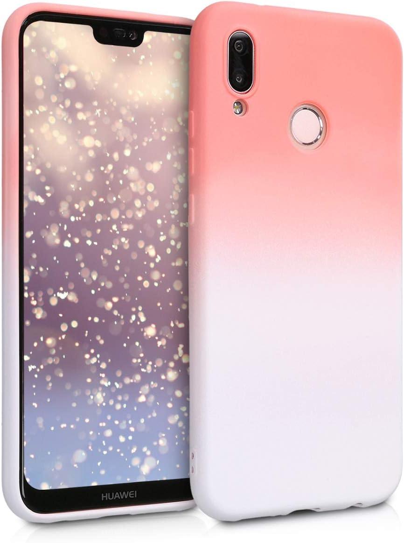 kwmobile Coque Compatible avec Huawei P20 Lite - Housse Protectrice pour Téléphone en Silicone Tons Pastel Rose Clair-Blanc