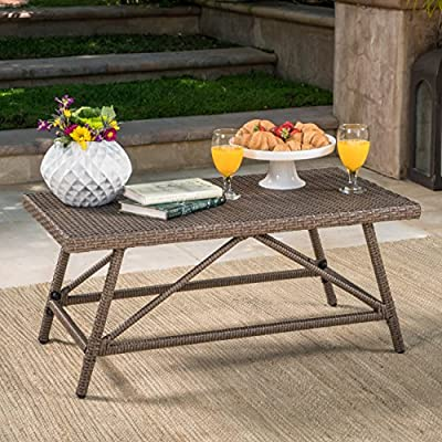 Christopher Knight Home 301836 Hazel Outdoor Wicker Coffee Table, Light Brown -  - patio-tables, patio-furniture, patio - 611XlYdsDLL. SS400  -