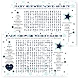 Star Baby Shower Word Search Game Cards -Navy Blue and Mint - Set of 25 Cards