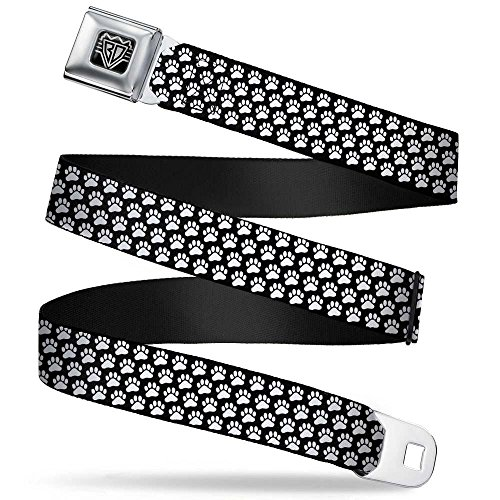 - Buckle-Down Seatbelt Belt - Paw Print Black/White - 1.5