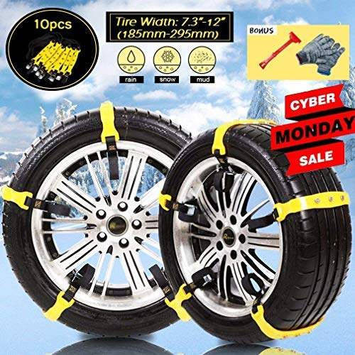 Diagtree 10 PCS Anti Slip Snow Chains for SUV Car Adjustable Universal Emergency Thickening Anti Skid Tire Chain,Winter Driving Security Chains,Traction Mud Snow Chains (Yellow A)