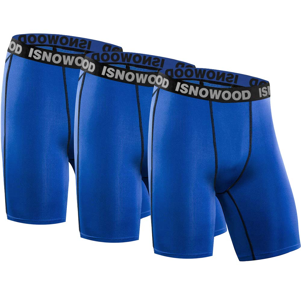 isnowood Men's 3 Pack Performance Compression Shorts
