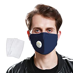 BeGrit Anti-Pollution Mask Washable Cotton Respirator with Valve & N99...
