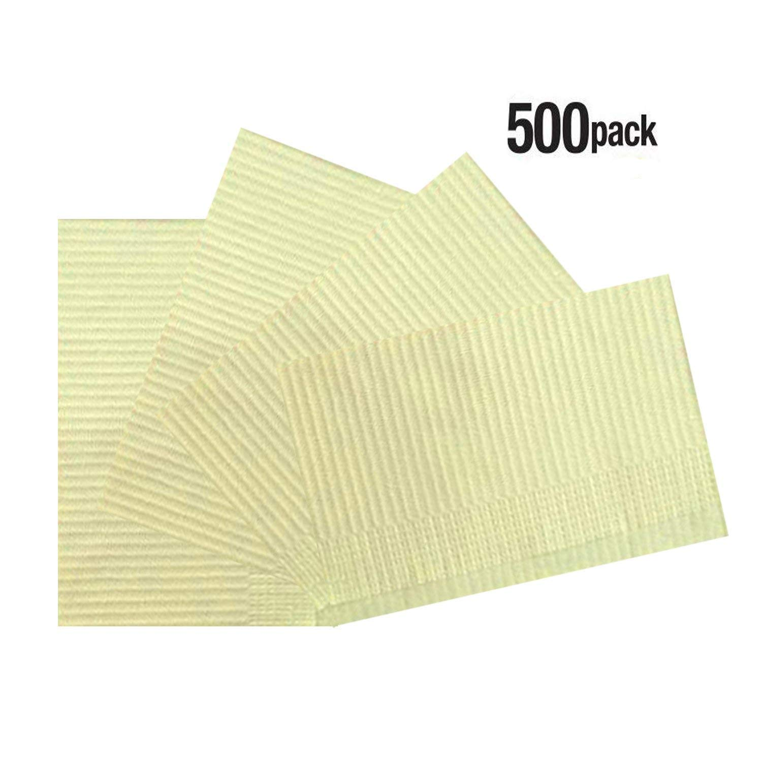 Vivid OnceBib Disposable Patient Bib, 2 Ply paper and 1 Poly Backing, 13''x18'', Set of 500 (Yellow)