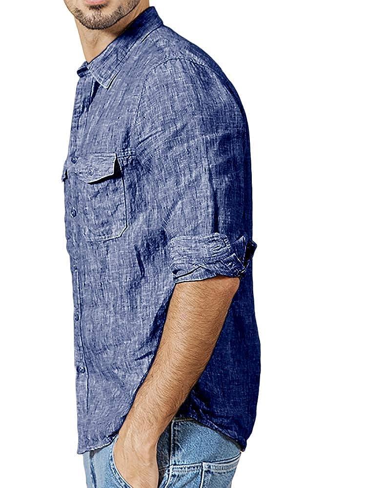 Mens Long Sleeve Shirts Botton Down Tops Beach Linen Fishing Tees Spread Collar Plain Summer Blouses