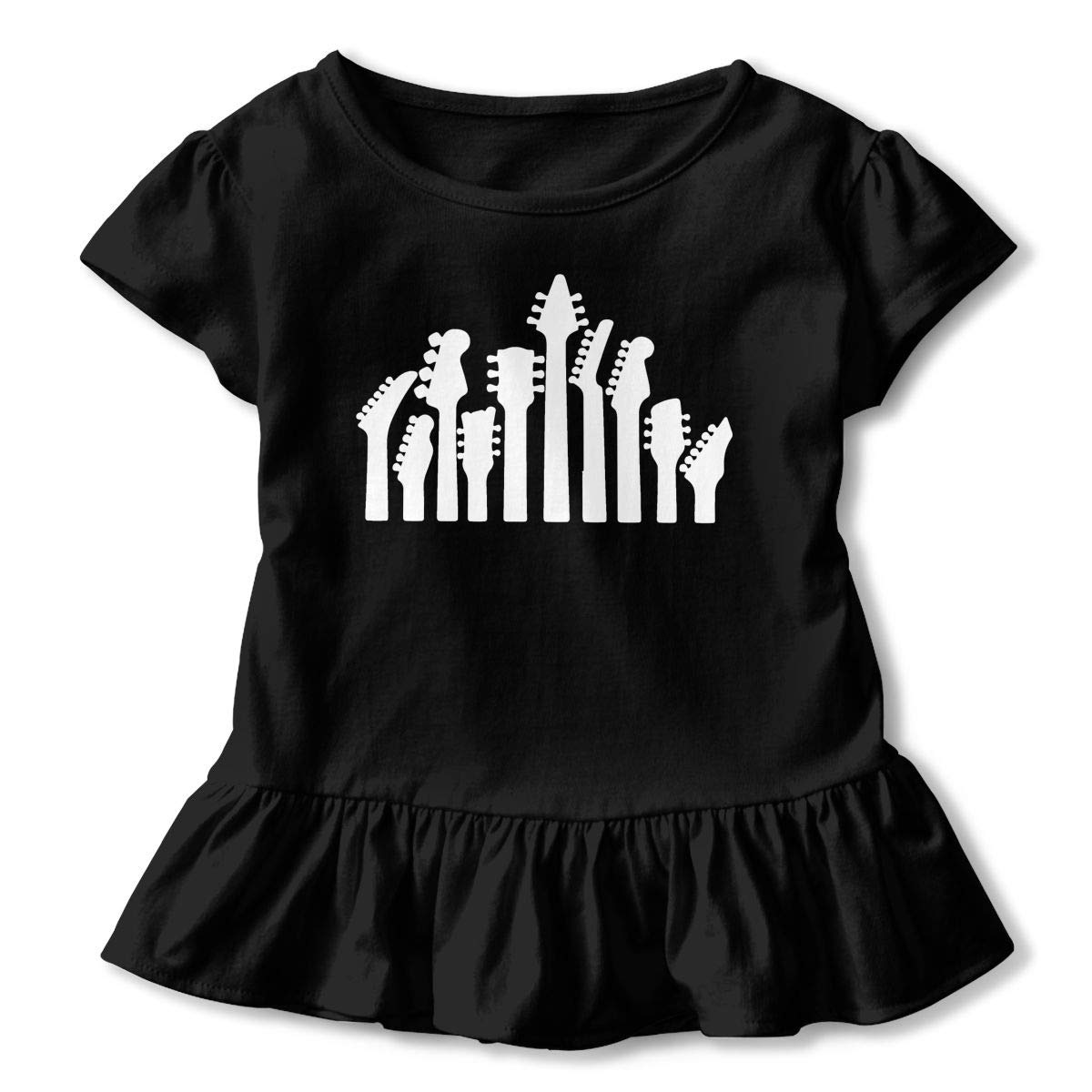 2-6 Years Vfbggg-Shirt Music Guitar Musical Baby Girls Short Sleeve Ruffle Tee Cotton Kids T Shirts
