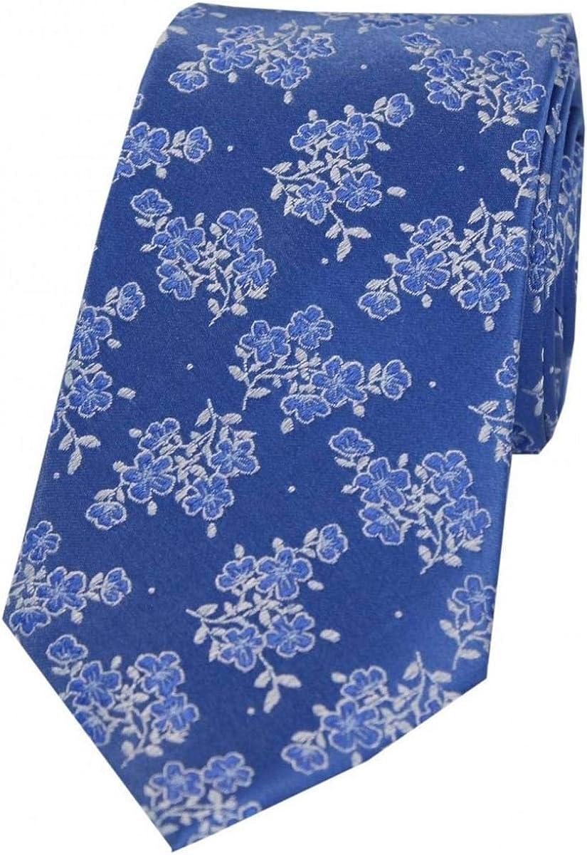 Blue David Van Hagen Mens Small Flowers Silk Tie